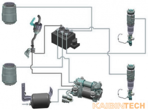 Air-suspension-cystem-with-shock-absorber-strut,-compressor,-air-valve